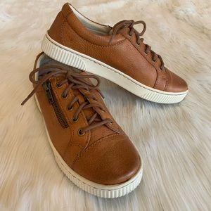 BORN Tamara Brown cognac leather sneakers size 6